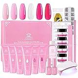 Makartt Poly Nail Gel Kit Pink Gel Nail Kit Nail Extension Kit Hard Gel for Nails with Mini...