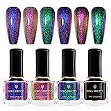 BORN PRETTY Chameleon Nail Polish Set Holographic Glitter Polish Sparkle Shimmer Nail Art...